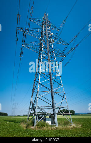 Power Line in a Summer Landscape - Stock Photo