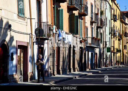 street facades, Bosa, Sardinia, Italy - Stock Photo