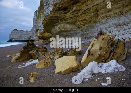 Alabaster Coast, Etretat, Normandy, France - Stock Photo