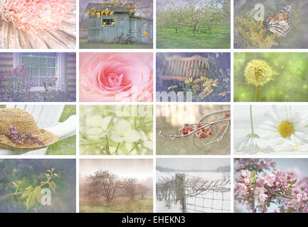 Collage of seasonal images with vintage look - Stock Photo