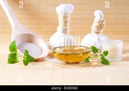 Herbal tea candle Spa Cosmetics Spa - Stock Photo
