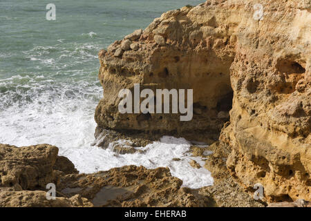 Rock formations of Algar Seco - Stock Photo