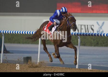 Meydan Racecourse, Dubai, UAE. 7th March, 2015. Tamarkuz on his way to winning the Group 3 race the Burj Nahaar - Stock Photo