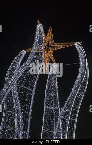 Christmas decorations in Albufeira - Stock Photo