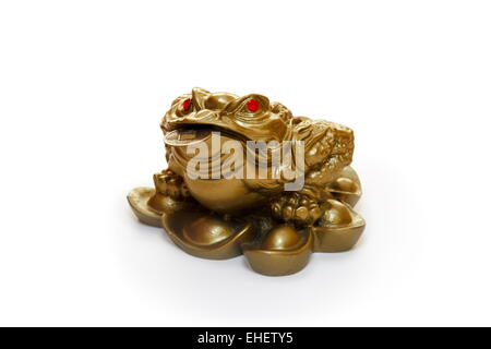 Chinese Feng Shui Frog with coins. - Stock Photo