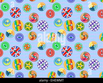 Collection of buttons fasteners for clothes - Stock Photo