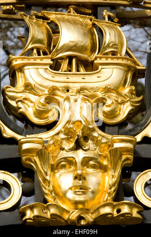 Gilded Decoration on Canada Gate Green Park London England - Stock Photo