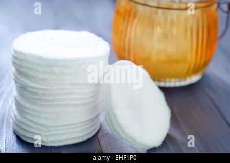 cotton stick and cotton disk - Stock Photo