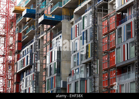 Scaffolding on skyscrapers in London England - Stock Photo