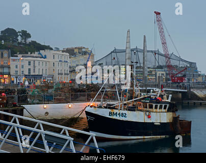 Fishing boat in the harbour, Torquay, Devon, England UK - Stock Photo