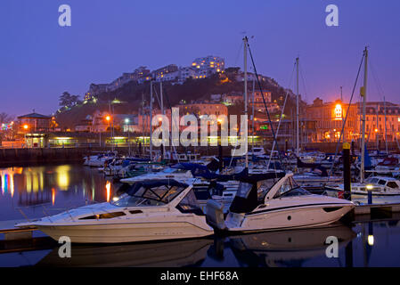 The marina at night, Torquay, Devon, England UK - Stock Photo