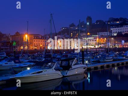 The marina at night, Torquay, Devon, England UK - Stock Photo