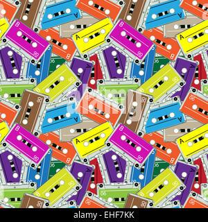 seamless audio tapes pattern - Stock Photo