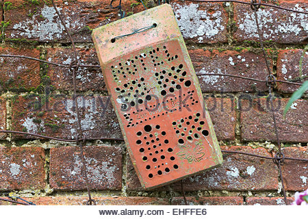Insect box for garden wildlife made from brick, Pensthorpe, Norfolk, UK, - Stock Photo