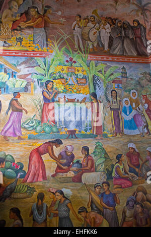 Oaxaca, Mexico - Details of a painting celebrating Oaxaca history and culture by Arturo García Bustos. - Stock Photo