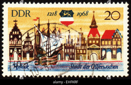 GDR - CIRCA 1968: A stamp printed in GDR (East Germany) devoted to 750th anniversary from origin of german town - Stock Photo