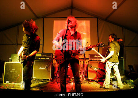 Amusement Parks on Fire live at the TDK Cross Central festival at Kings Cross Goods Yard London. - Stock Photo
