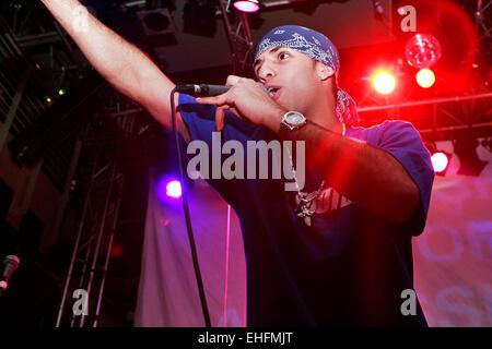 La Raza Crew live at the Latin Hip Hop and Reggaeton Festival at The Carling Academy Islington London. - Stock Photo