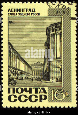 USSR - CIRCA 1968: A post stamp printed in USSR and shows Architect Rossi Street in Leningrad (now St.Petersburg) - Stock Photo