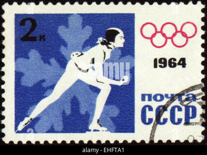 A post stamp printed in USSR shows skater - Stock Photo