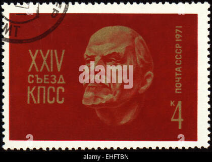 USSR - CIRCA 1971: A stamp printed in USSR shows Lenin portrait - Stock Photo