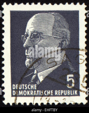 GDR - CIRCA 1971: A stamp printed in GDR (East Germany) shows Chairman Walter Ulbricht portrait - Stock Photo