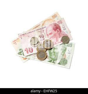 Different banknotes and coins. Turkish money isolated on white background - Stock Photo