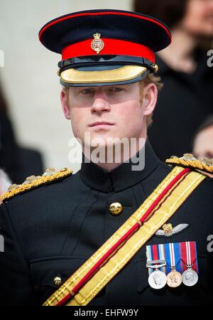 London, UK. 13th Mar, 2015. Prince Harry attends the commemoration service to mark the end of combat operations - Stock Photo