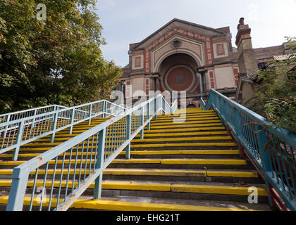 Wide-angle view of the rear entrance to Alexandra Palace, Haringey, London. - Stock Photo