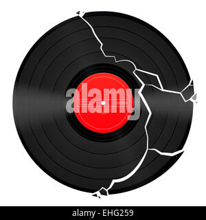 A Broken Lp Vinyl Record With Red Label And A Circle Of