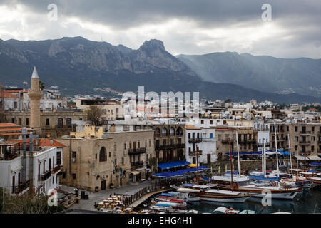 View of the harbour from the castle at Girne (Kyrenia), Northern Cyprus - Stock Photo