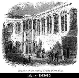 Engraving of the Exterior of the Great Hall of Crosby Place (Crosby Hall) 1841 scanned at high res from a book printed - Stock Photo