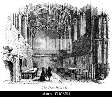 Engraving of the interior of the Great Hall of Crosby Place (Crosby Hall) 1841 scanned at high res from a book printed - Stock Photo