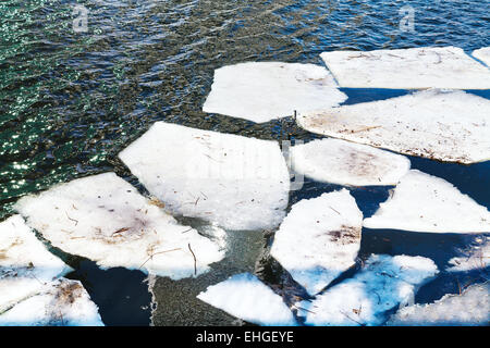 melting ice floes in river in sunny spring day - Stock Photo