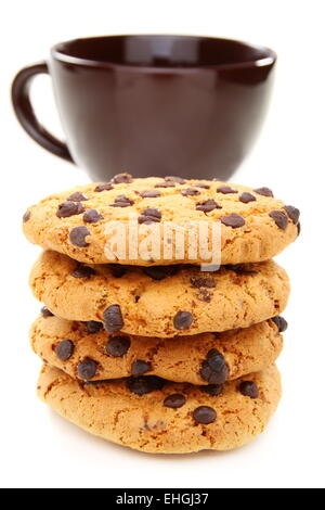 Almond cookies and a cup of coffee closeup. - Stock Photo