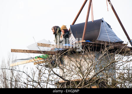 Bristol, UK. 13th Mar, 2015. Bailiffs and specialist climbers evicted more tree protesters who are preventing construction - Stock Photo