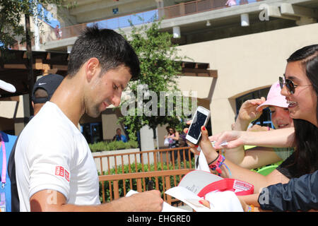 Indian Wells, California 13th March, 2015 Number one ranked Serbian tennis player Novak Djokovic signs autographs - Stock Photo