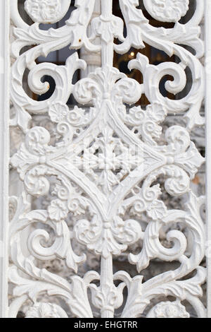 White wrought metal pattern, historical Ottoman garden gate motifs - Stock Photo