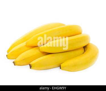 Bunch of fresh spotless yellow bananas - Stock Photo
