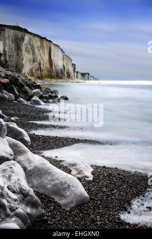 chalk cliffs of Ault, Picardy, France - Stock Photo