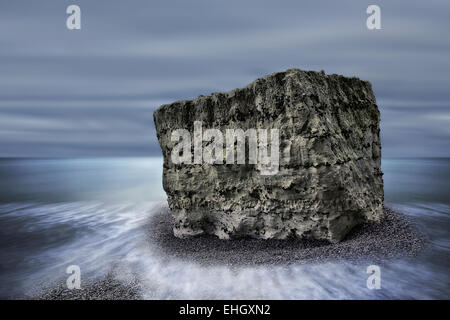 chalk rock, Alabaster coast, Normandy, France - Stock Photo
