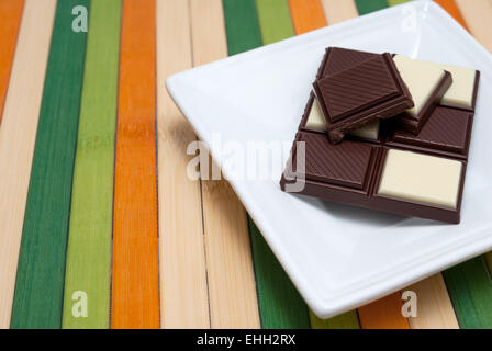Food collection - Black and white chocolate - Stock Photo
