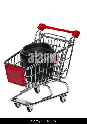 Shopping Cart with a camera lens - Stock Photo