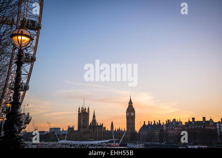 Big Ben and Houses of Parliament at dusk, London, England, Uk - Stock Photo