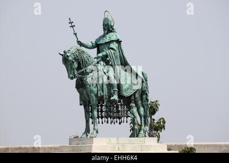 Statue of St. Stephen in Budapest - Stock Photo
