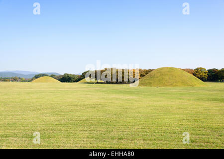 royal tombs located in Gyeongju in Silla kingdom. Silla was one of the kingdoms of acient Korea. - Stock Photo