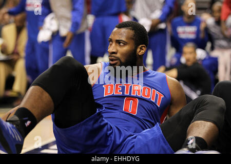 March 13, 2015 - ANDRE DRUMMOND (0) looks on after falling onto the floor. The Portland Trail Blazers play the Detroit - Stock Photo
