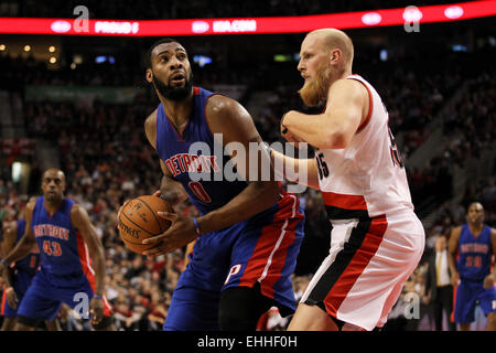 March 13, 2015 - ANDRE DRUMMOND (0) posts up near the basket. The Portland Trail Blazers play the Detroit Pistons - Stock Photo