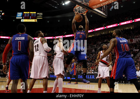March 13, 2015 - ANDRE DRUMMOND (0) dunks the ball. The Portland Trail Blazers play the Detroit Pistons at the Moda - Stock Photo