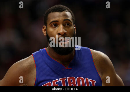 March 13, 2015 - ANDRE DRUMMOND (0) looks on during a timeout. The Portland Trail Blazers play the Detroit Pistons - Stock Photo